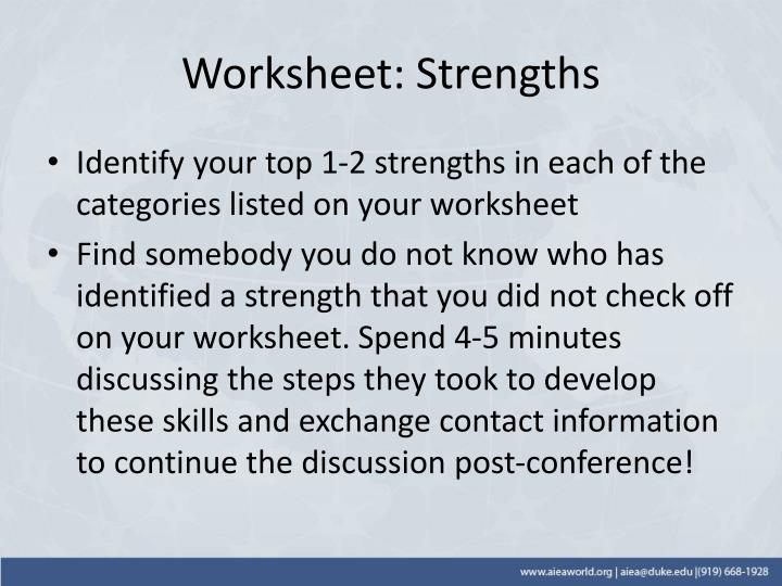 Worksheet: Strengths