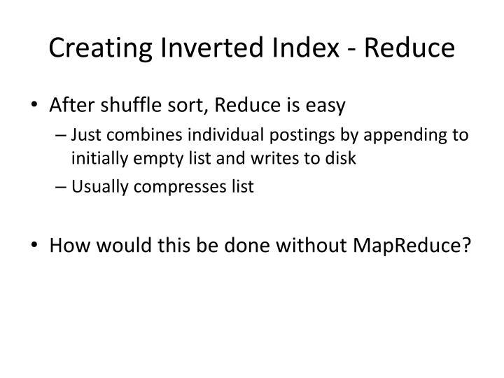 Creating Inverted Index - Reduce