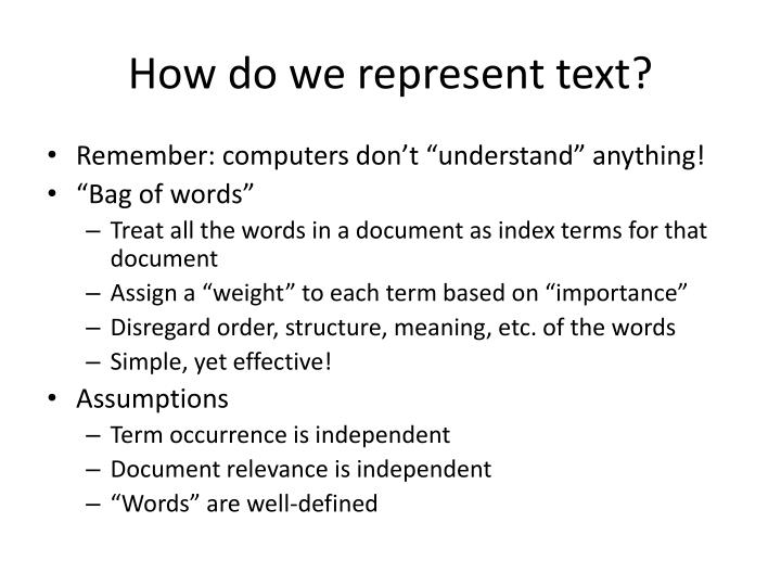 How do we represent text?