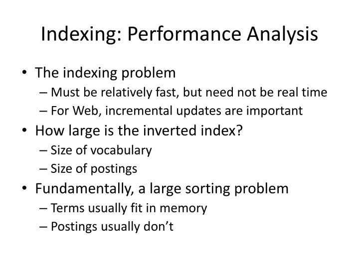 Indexing: Performance Analysis