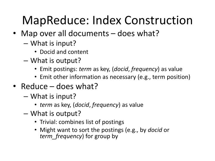 MapReduce: Index Construction