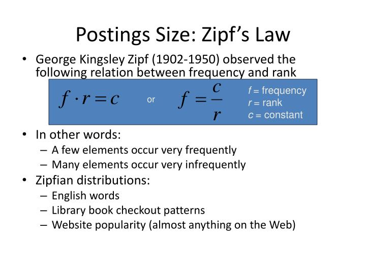 Postings Size: Zipf's Law