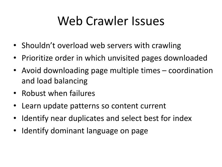 Web Crawler Issues
