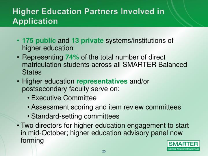 Higher Education Partners Involved in Application