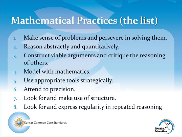 Mathematical Practices (the list)