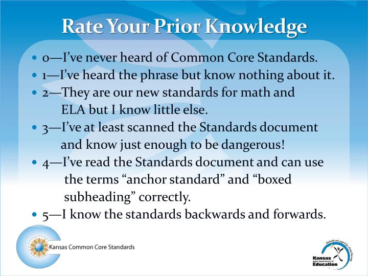 Rate Your Prior Knowledge