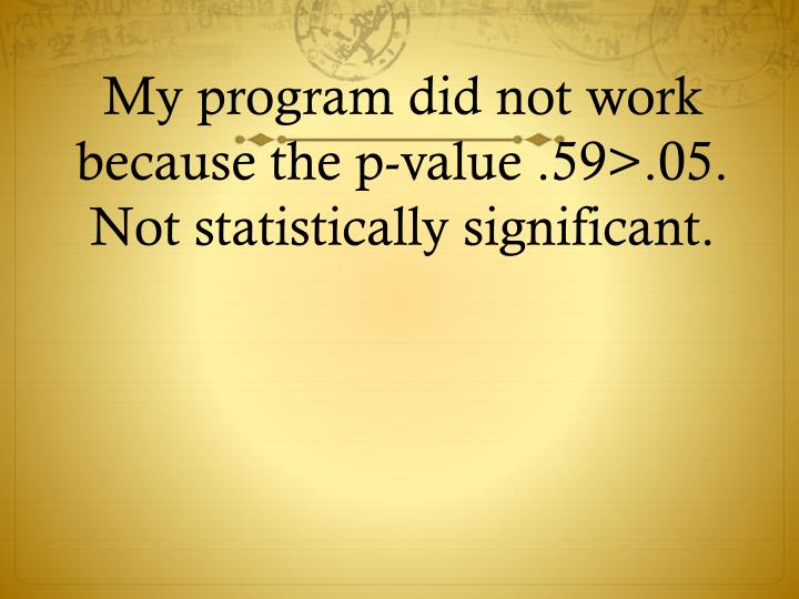 My program did not work because the p-value .59>.05. Not statistically significant.