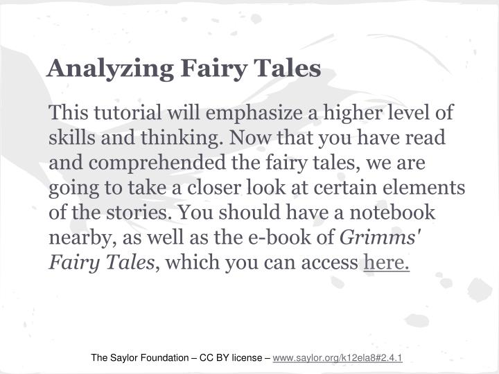 Analyzing fairy tales