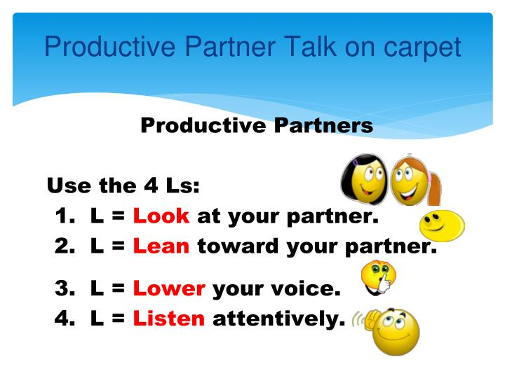 Productive Partner Talk on carpet