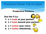 productive partner talk on carpet