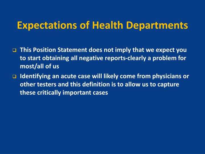 Expectations of Health Departments