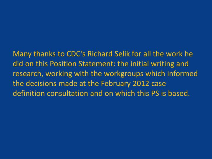 Many thanks to CDC's Richard