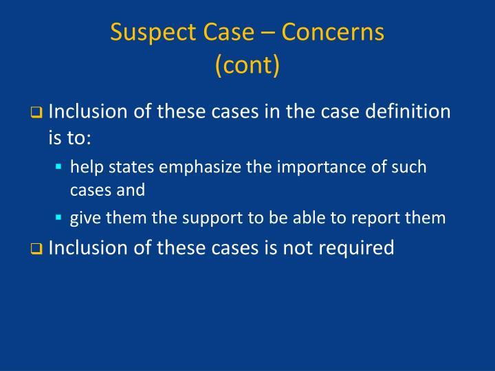 Suspect Case – Concerns