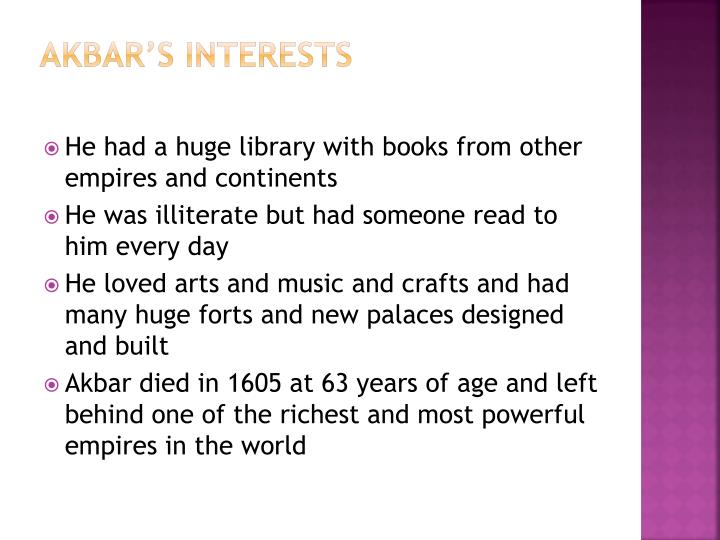 Akbar's Interests