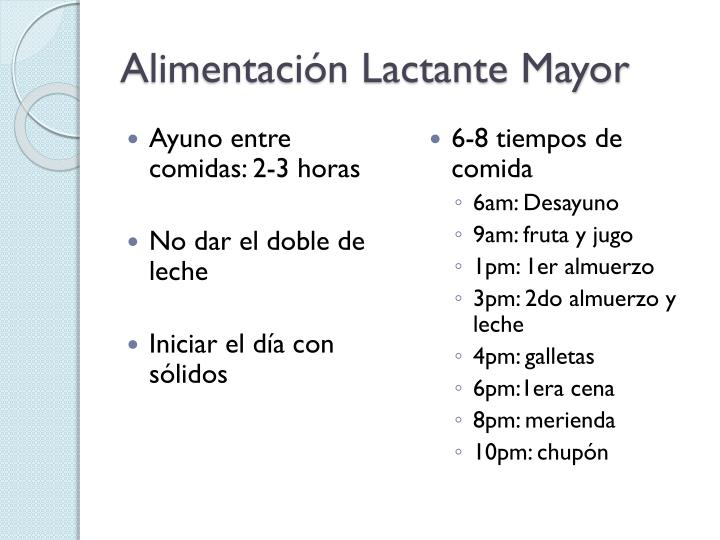 Alimentación Lactante Mayor