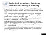 evaluating the practice of opening up resources for learning and teaching1