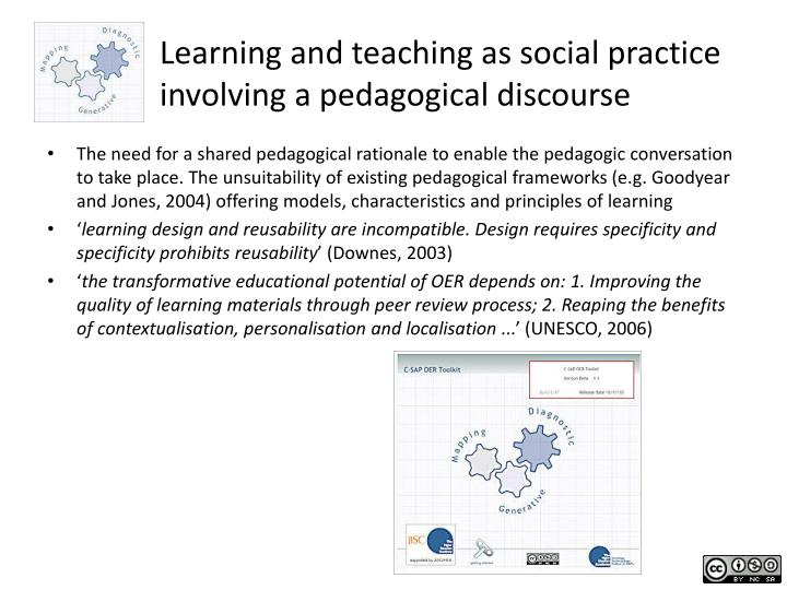 Learning and teaching as social practice involving a pedagogical discourse