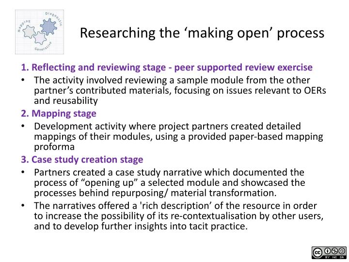 Researching the 'making open' process