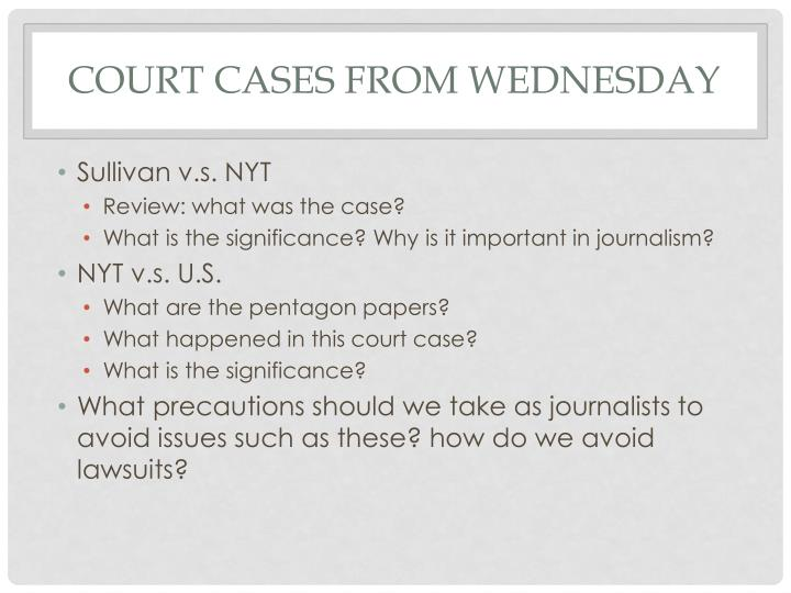 Court cases From Wednesday