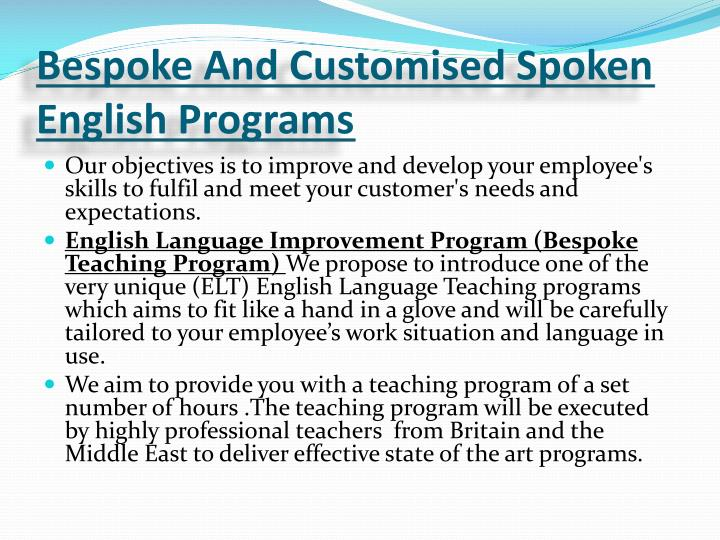 Bespoke And Customised Spoken English Programs