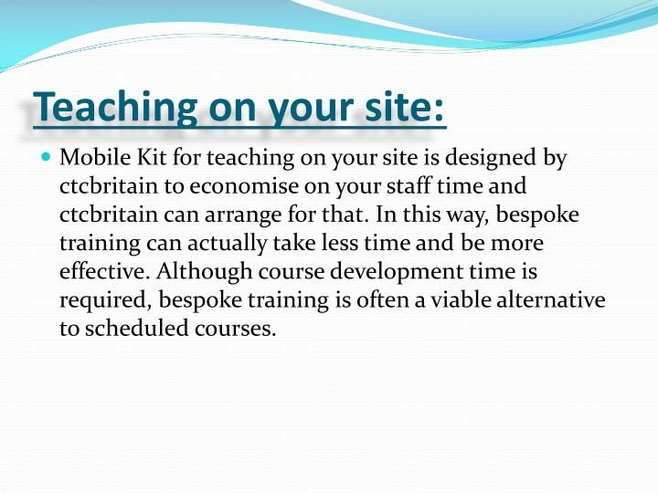 Teaching on your site: