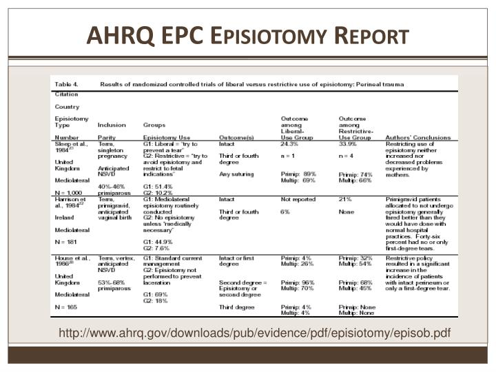 AHRQ EPC Episiotomy Report