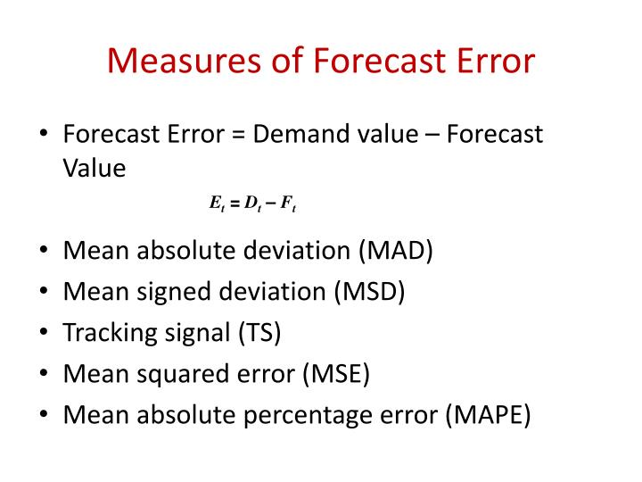 Measures of Forecast Error