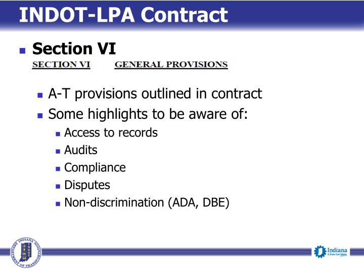 INDOT-LPA Contract