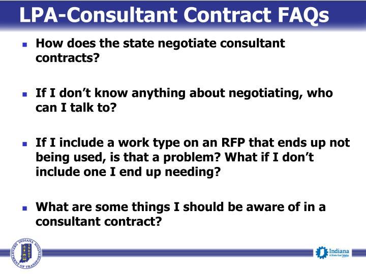 LPA-Consultant Contract FAQs