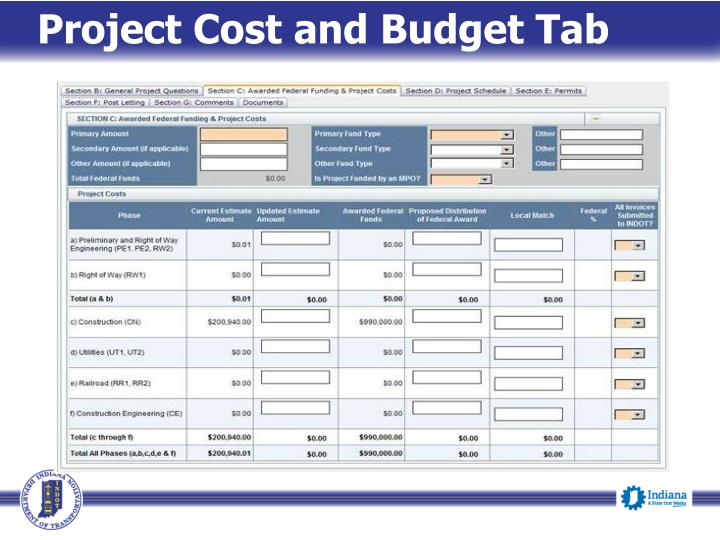 Project Cost and Budget Tab
