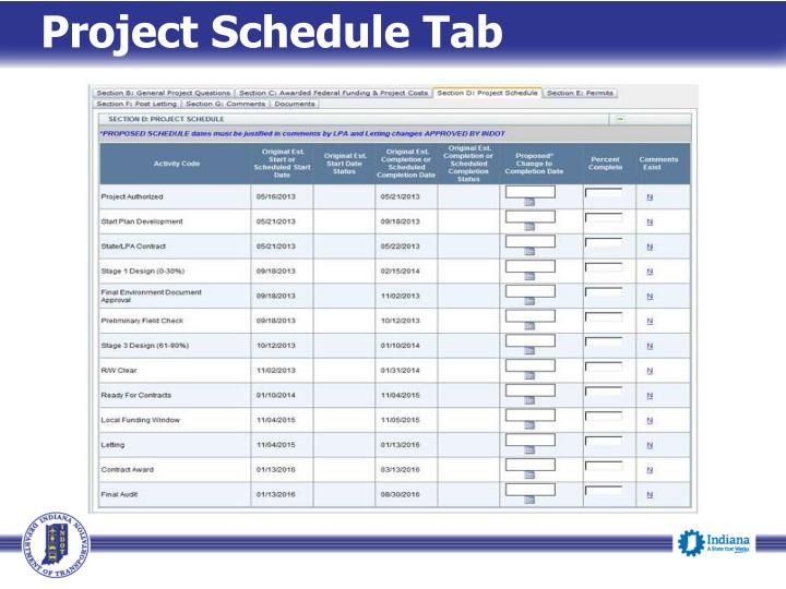 Project Schedule Tab