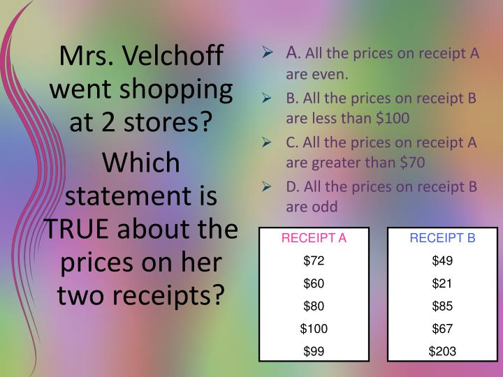 Mrs. Velchoff went shopping at 2 stores?