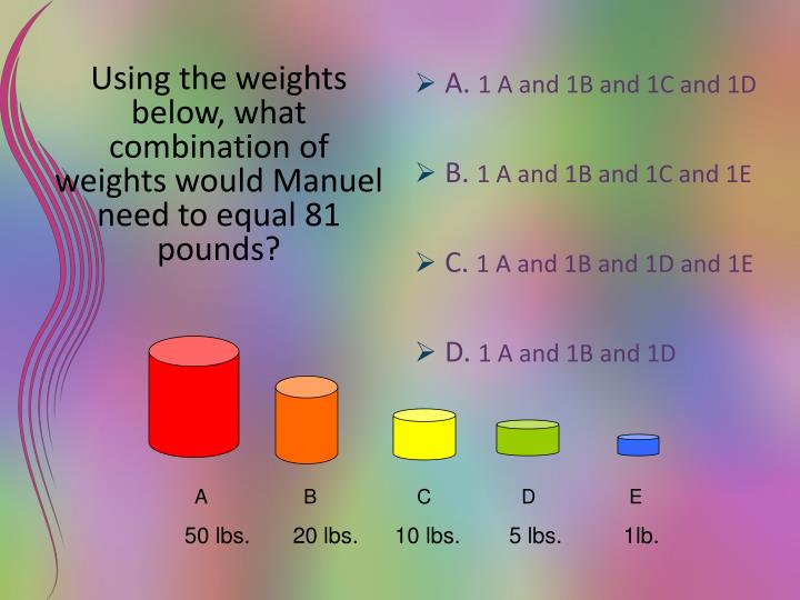Using the weights below, what combination of weights would Manuel need to equal 81 pounds?