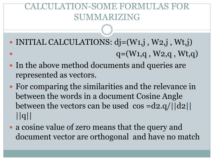 CALCULATION-SOME FORMULAS FOR SUMMARIZING