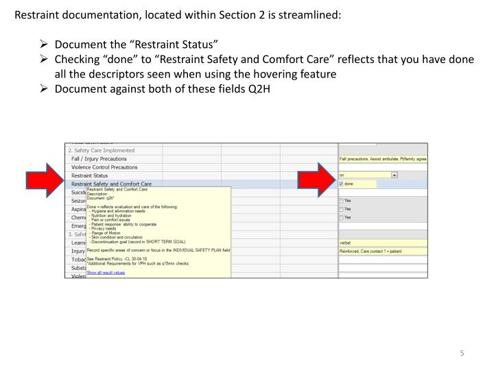 Restraint documentation, located within Section 2 is streamlined: