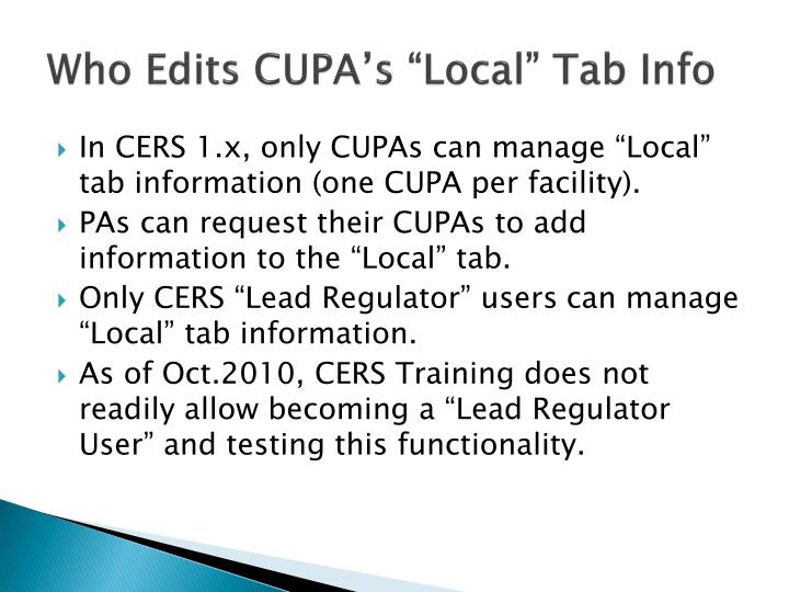 "Who Edits CUPA's ""Local"" Tab Info"