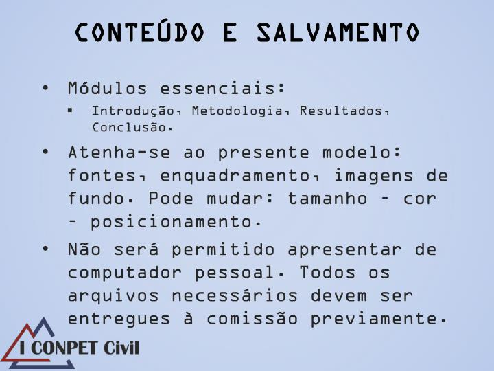 CONTEÚDO E SALVAMENTO