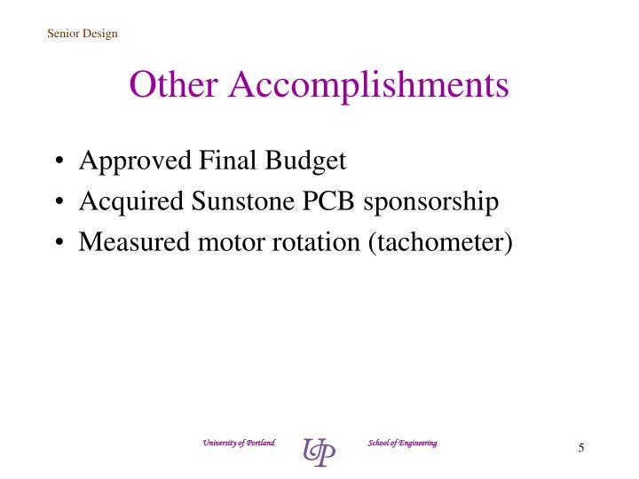 Other Accomplishments