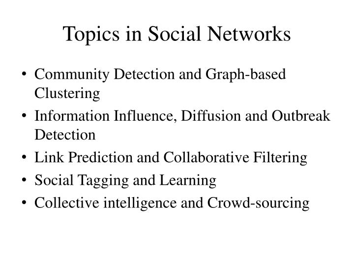 Topics in Social Networks