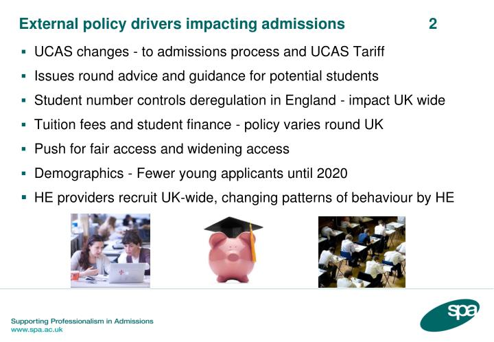 External policy drivers impacting admissions 2