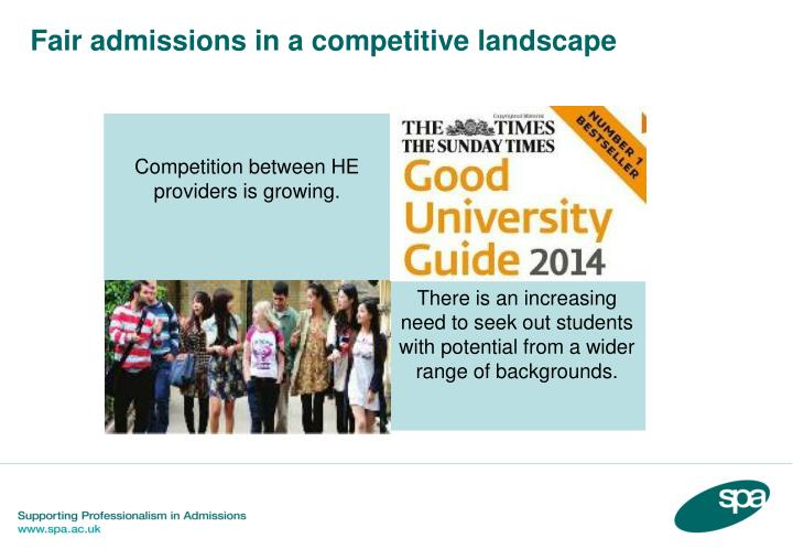 Fair admissions in a competitive landscape