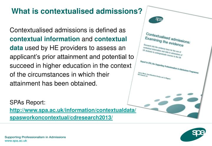 What is contextualised admissions?