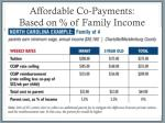 affordable co payments based on of family income