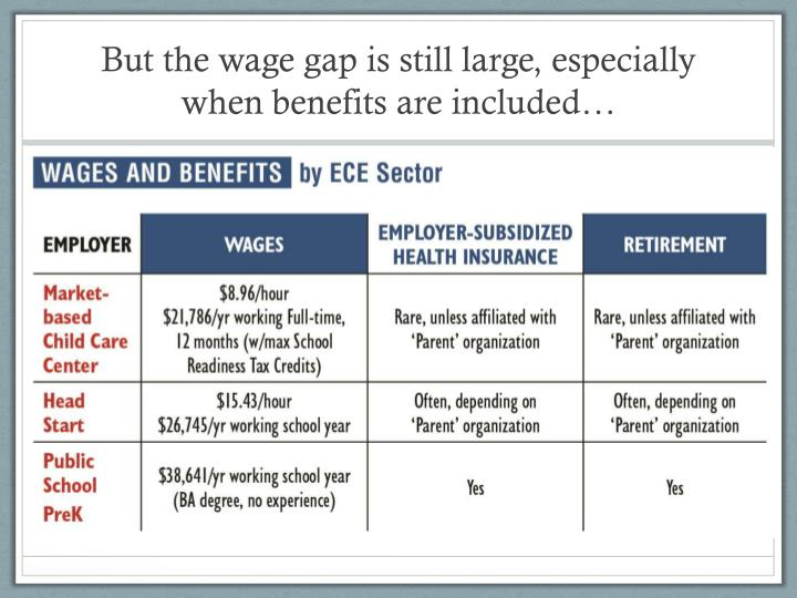 But the wage gap is still large, especially when benefits are included…