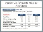 family co payments m ust be affordable