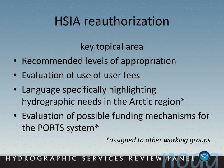 HSIA reauthorization