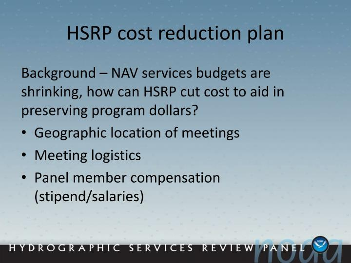 HSRP cost reduction plan