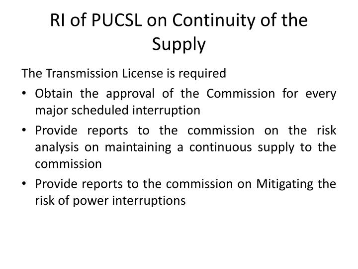 RI of PUCSL on Continuity of the Supply