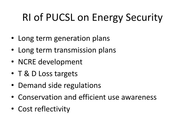 RI of PUCSL on Energy Security