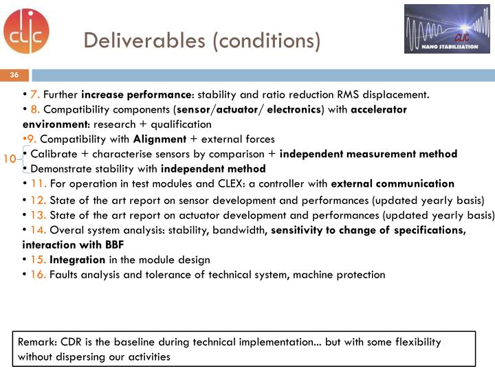 Deliverables (conditions)
